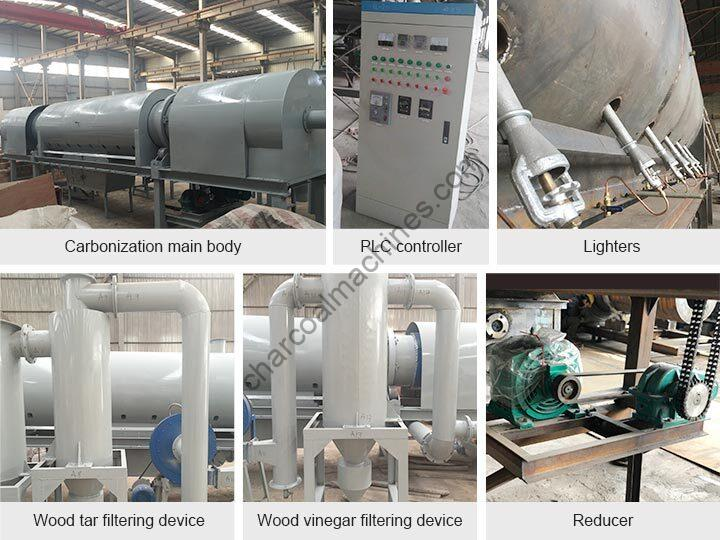 components of rice husk charcoal furnace