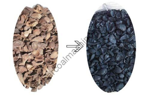 Turn palm shell into charcoal