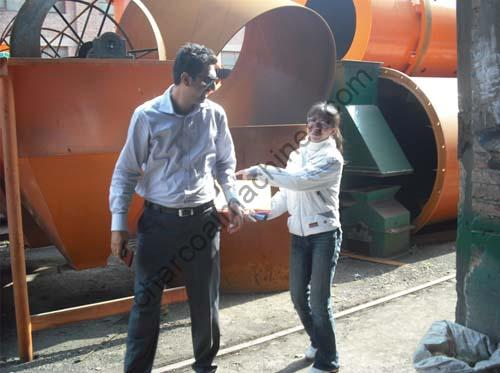 customer visiting for rotary sawdust dryer