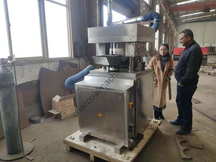 Saudi Customer for visiting the charcoal press machine