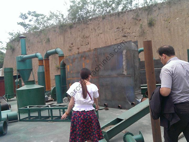 customer visiting in our charcoal machine factory
