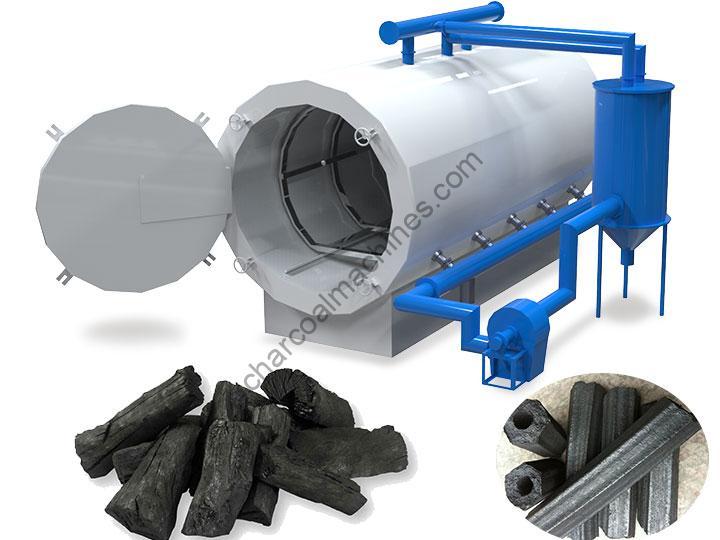 horizontal log charcoal furnace